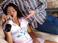 Petite gal made drunk by a horny aged dude lusting for her extra tight slit