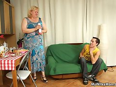 Chubby granny gets cock from her son in law and thickness feels good in her old pussy