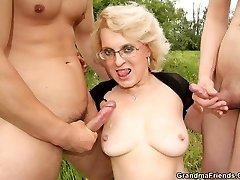 They bring a hot mature blonde out to the country and they bang her pussy and mouth