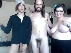 Straight and gay and chubby gal make horny threesome online
