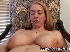 Busty amateur Calis playing huge faux-cock