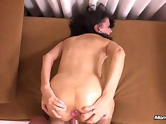 Horny busty MILF raw anal fucking