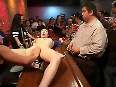 Tied slave romped in public crowded bar