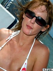 Super cute amateur babe gets creamed and thrown off a boat inthese pics