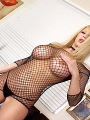 Busty blonde Candy Manson strips showing her big tits before getting her ass filled with dick