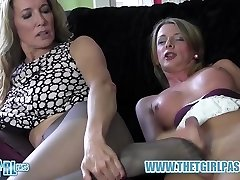 Blonde shemale faps big trunk before cuming on hot nylon ass