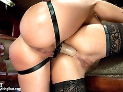 Two sexy and perverted girls, Kristina Rose and Brandy Aniston, explore each others butts in...
