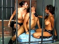 Guy fucked with strap-on by wild army chicks