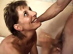 Hairy French Cougar in her naughty forties getting Dp.d