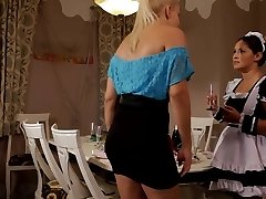 Horny Blonde Mistress Pummels Her Maid Hard in Domination & Submission