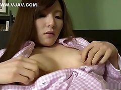 Hitomi Tsukishiro is using a massager