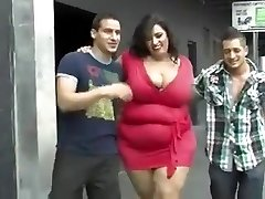 Mature fat nymph with huge bosoms in the group video