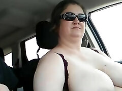 Wife driving with her xxl tits out