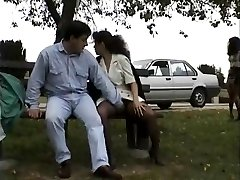 Vintage pin of Babes lovin' flashing public sex