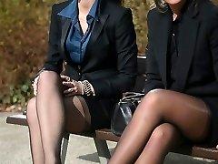 2 youthful sexy secretaries in vintage stockings & garterbelt