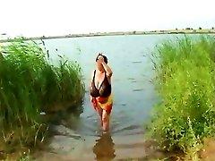 retro: massive mature Russian tits on the beach 1970-1990