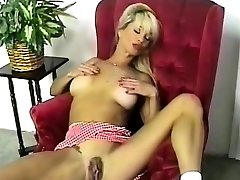 HOT Busty Platinum-blonde Striptease and Fingering 2016
