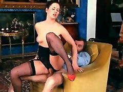 Retro Classical - Dark-hued Crotchless Satin Panties Action