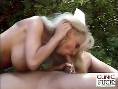 Busty Nurse Trouser Snake Fellating By The Pool