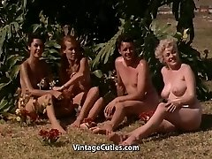 Naked Girls Having Joy at a Nudist Resort (1960s Vintage)