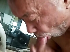 Chinese Grandpa Fucked by Father