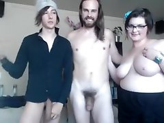 Straight and gay and chubby gal make kinky threesome online