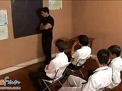 Lovely twink schoolgirls team up to blow their teacher