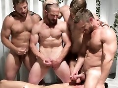 Gay group orgy men jerking off at same time