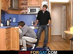 Straight plumber sucks and rides his fag cock