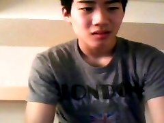 Asian twink masturbates for webcam