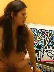 Plump Asian girlfriend fucked in solarium