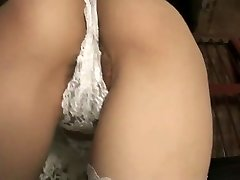 Fascinating Maki looks great in white lace