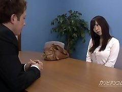 Job interview leads engulfing a pecker