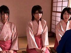 Petite femdom Japanese kimono sweethearts jump on dude
