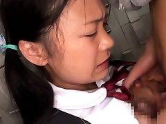 Innocent oriental schoolgirl tasting cum closeup