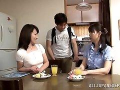 Lascivious Japanese aged babe Yuuri Saejima bounces on rod