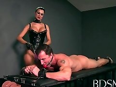 Sexy Mistress likes teasing her sub boys hard cock while he's handcuffed
