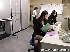School teachers in hose footjobs trio