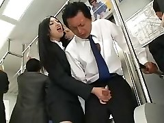 Asian Tugjob In Bus