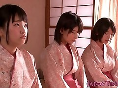 Spanked japanese nubiles queen dude while jerking off him off