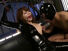 Fabulous Japanese hotty Akiho Yoshizawa in Exotic latex, facial JAV clip