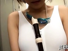 Japanese schoolgirl gives a steamy oral pleasure job and tit fuck