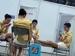Candid Oriental Hostess Nylon Feet