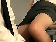 Office Lady In Hose Riding On Man Face Fingered On The Floor In The Of