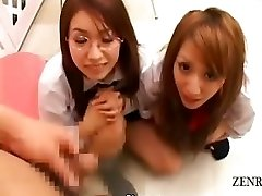 Subtitled CFNM POV Japanese schoolgirls dick checkup