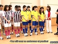 Oriental students getting toy drilled during gym