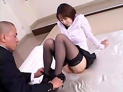 Crazy Japanese cutie Misa Nishida in Exotic Cunnilingus, Nylons JAV clip