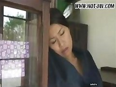 Japanese wife sucks on his cock, receives screwed and sucks again