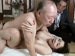 Hardcore grandpa pummels young babe
