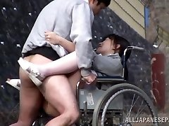 Horny Japanese nurse gargles cock in front of a voyeur
